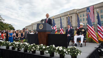 President Obama speaks at a 9/11 memorial service at the Pentagon