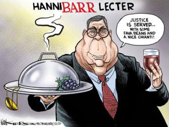 Political Cartoon U.S. Barr Hannibal Lecter