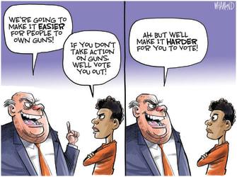 Political Cartoon U.S. gop gun control voter suppression