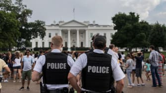 Police patrol outside the White House on August 11, 2018 in Washington, DC.