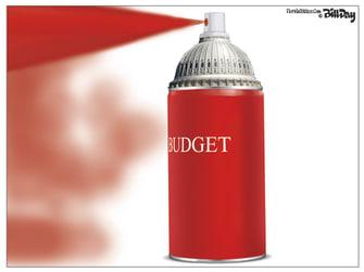 Political Cartoon U.S. Budget Spray