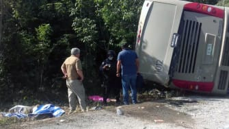 The scene of Tuesday's bus accident in Mexico.