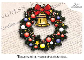 Editorial Cartoon U.S. Liberty Bell Christmas