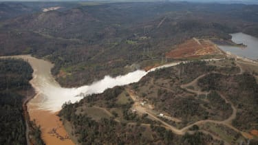 The Oroville Dam emergency spillway on Monday.