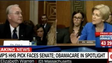 Elizabeth Warren and Tom Price.