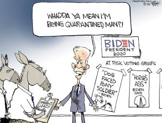 Political Cartoon U.S. Joe Biden Democrats quarantine gaffes insults voters