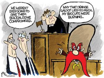 Political Cartoon U.S. Trump Impeachment testimony Bolton Yosemite Sam
