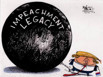 Political Cartoon U.S. Trump Impeachment Legacy Ball And Chain