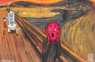 Editorial Cartoon World COVID vaccines Munch The Scream