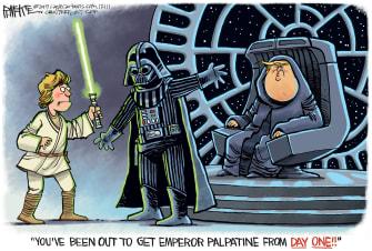 Political Cartoon U.S. Trump Palpatine