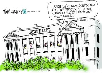 Political Cartoon U.S. Trump DOJ properties room rates charging federal government