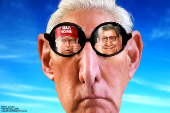 Political Cartoon U.S Stone case Trump Barr clear vision