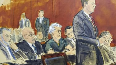A courtroom drawing of Jeffrey Epstein.
