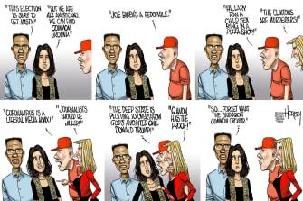 Political Cartoon U.S. Election Trump Supporters Joe Biden Conspiracy Theories QAnon