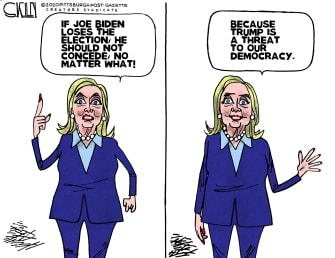 Political Cartoon U.S. Hillary Clinton 2020