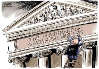Political Cartoon U.S. William Barr DOJ case Stone