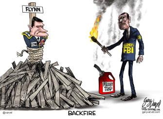 PoliticalCartoon U.S. James Comey Michael Flynn FBI