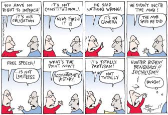 Political Cartoon U.S. Trump impeachment partisanship