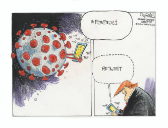 Political Cartoon U.S. Fire Fauci Trump retweets coronavirus pandemic