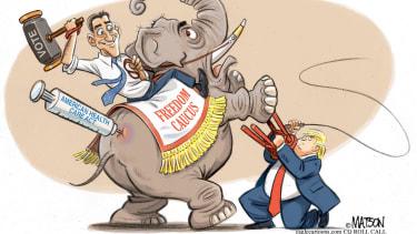 Political Cartoon U.S. Trump Ryan GOP Health Care Freedom Caucus