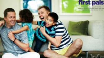 Real-life gay dads Todd Koch and Cooper Smith play with their kids in a Father's Day ad for JCPenney.