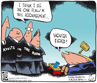 Political cartoon U.S. Trump White House revolving door chaos