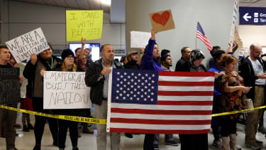 Protesters outside Dallas-Fort Worth International airport