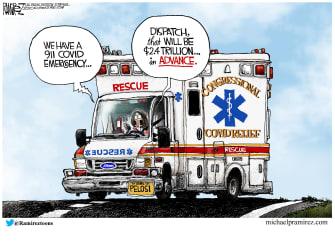 Political Cartoon U.S. Pelosi COVID stimulus