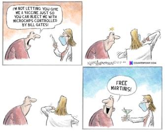 Editorial Cartoon U.S. COVID vaccine conspiracy