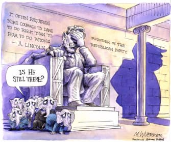Political Cartoon U.S. GOP Trump Lincoln