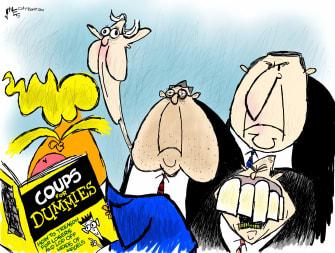 Political Cartoon U.S. Trump coup Giuliani Barr McConnell