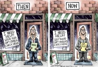 Editorial Cartoon U.S. small business covid relief