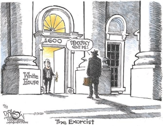 Political Cartoon U.S. Exorcist Trump loss democracy