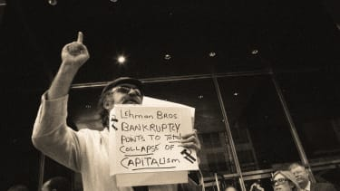 A demonstrator outside Lehman Brothers headquarters.