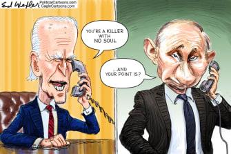 Political Cartoon U.S. Biden putin