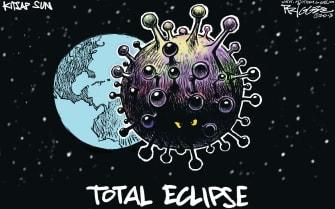 Editorial Cartoon U.S. total eclipse coronavirus pandemic