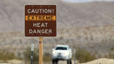 Heat warning sign in Death Valley National Park, California