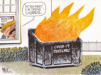 Political Cartoon U.S. Trump loss COVID