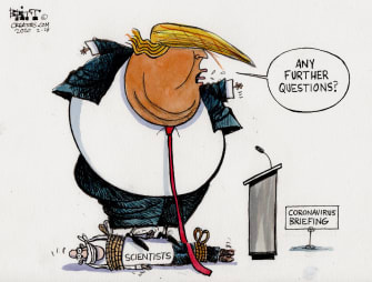 Political Cartoon U.S. coronavirus briefing Trump silence scientists