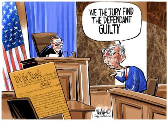 Political Cartoon U.S. Constitution impeachment Trump McConnell