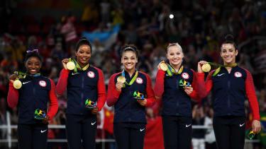The gold-medal winning U.S. women's gymnastic team.
