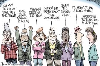 Political Cartoon U.S. Leap year Iowa caucus Super Bowl SOTU February