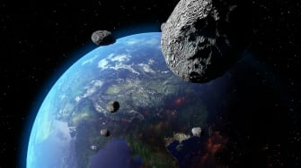 A rendering of an asteroid.