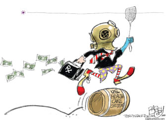 Editorial Cartoon U.S. health care big pharmaceutical CDC coronavirus pandemic testing