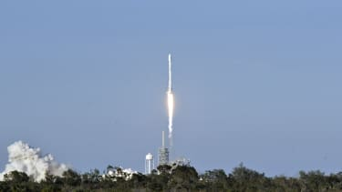 A SpaceX Falcon 9 rocket lifts off in Florida