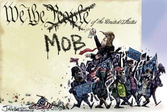 Political Cartoon U.S. Trump Capitol mob