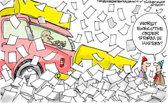 Political Cartoon U.S. biden executive orders snow