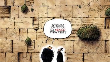 Political cartoon U.S. Trump abroad Israel Wailing Wall Mexico border
