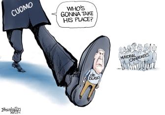 Political Cartoon U.S. de blasio cuomo nyc mayor race