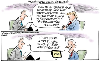 Political Cartoon U.S. Trump Biden media questions